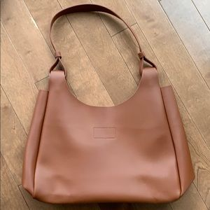 Tan faux-leather handbag